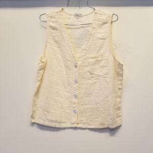 Tops - Cream Linen New Vest